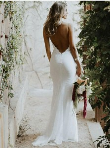 Mermaid Spaghetti Straps Low Cut Backless Lace Wedding Dress