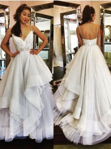 A-Line Wedding Dress - Spaghetti Straps Sweep Train Ivory Tulle Appliques Ruffles