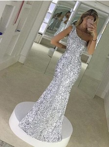 Mermaid One-Shoulder Floor-Length Silver Sequined Prom Dress