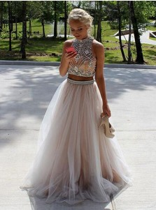 Two Piece High Neck Sleeveless Floor-Length Open Back Champagne Prom Dress with Beading