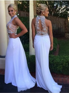 6cbabf7b05f Mermaid High Neck Sweep Train Open Back White Prom Dress with Beading ...