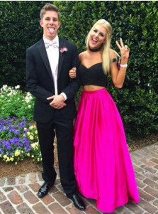 Hot Selling Two Piece Floor-Length Off Shoulder Fuchsia/Red Prom Dress Ruched with Pockets