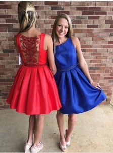 A-Line Bateau Sleeveless Short Red/Royal Blue Prom Dress with Beading