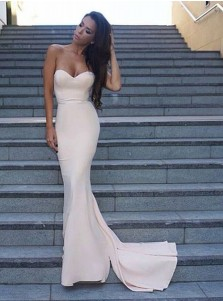 Mermaid Sweetheart Zipper-Up Sweep Train Ivory Prom Dress