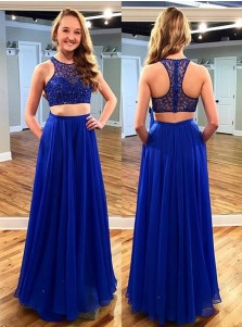 Two Piece Jewel Sleeveless Floor-Length Royal Blue Chiffon Prom Dress with  Beading
