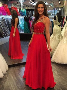 A-Line Bateau Sleeveless Floor-Length Red Chiffon Prom Dress with Beading