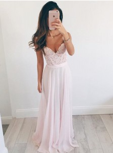 A-Line V-Neck Floor-Length Pearl Pink Chiffon Prom Dress with Appliques Beading