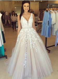 A-Line V-Neck Sweep Train Champagne Tulle Prom Dress with Appliques Beading