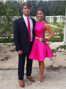 Simple Bateau Sleeveless Short Fuchsia Prom Dress with Beading Waist