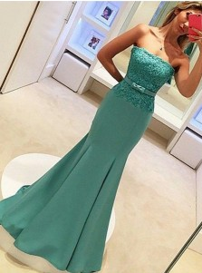 Mermaid Strapless Sweep Train Blue Prom Dress with Lace Top Bowknot