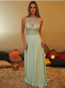 Simple Jewel Sleeveless Long Mint Chiffon Satin Prom Dress with Lace Top