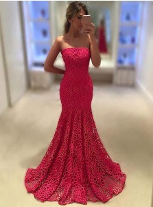 Mermaid Strapless Sweep Train Rose Pink Lace Prom Dress with Ruffles