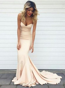 Mermaid Sweetheart Sleeveless Sweep Train Pearl Pink Stretch Satin Prom Dress