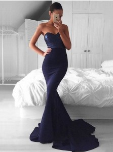 Mermaid Sweetheart Sweep Train Dark Navy Prom Dress with Sequins