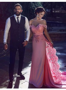 Sheath Off-the-Shoulder Sweep Train Pink Prom Dress with Lace Sash