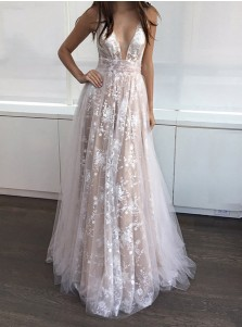 A-Line Deep V-Neck Floor-Length Sleeveless Champagne Tulle Prom Dress