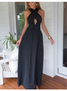 A-Line Halter Sleeveless Navy Blue Chiffon Prom Dress with Keyhole
