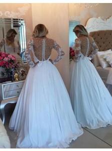 A-Line Scoop Long Sleeves Sweep Train White Chiffon Prom Dress