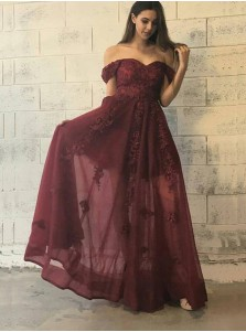 A-Line Off-the-Shoulder Floor-Length Burgundy Tulle Prom Dress with Appliques