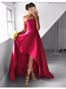 A-Line Strapless High-Low Rose Pink Satin Prom Dress with Ruched
