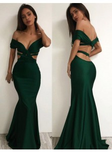 Mermaid Off-the-Shoulder Floor Length Backless Hunter Prom Dress
