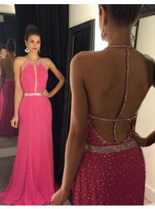 A-Line Halter Sleeveless Floor-Length Backless Fuchsia Chiffon Prom Dress