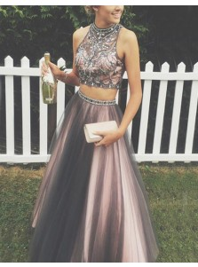 A-Line High Neck Sleeveless Floor-Length Grey Prom Dress with Beading