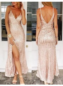 Sheath Deep V-Neck Floor-Length Sleeveless Backless Pink Sequined Prom Dress