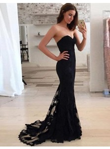 Mermaid Sweetheart Sweep Train Black Lace  Prom Dress