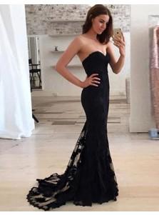 Mermaid Sweetheart Sweep Train Black Lace  Prom Dress