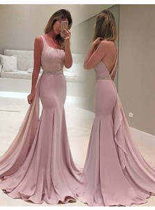 Mermaid One Shoulder Watteau Train Blush Prom Dress with Beading Ruffles