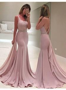 Mermaid One Shoulder Watteau Train Blush Prom Dress with Beading Ruffles