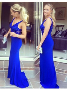 Sheath V-Neck Sleeveless Sweep Train Royal Blue Prom Dress with Beading