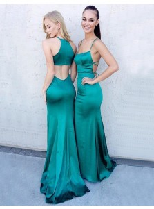 Mermaid Jewel Sleeveless Sweep Train Turquoise Prom Dress with Split