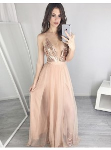 A-Line Deep V-Neck Floor-Length Champagne Tulle Prom Dress with Sequins