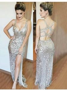 Mermaid Deep V-Neck Floor-Length Split-Side Open Back Silver Sequined Prom Dress