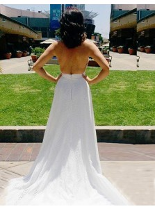 A-Line Halter Sleeveless Sweep Train Backless White Prom Dress with Keyhole