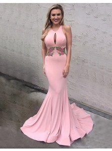 Mermaid Round Neck Keyhole Sweep Train Pink Prom Dress with Appliques