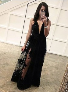 Sheath Deep V-Neck Floor-Length Criss-Cross Straps Black Tulle Prom Dress with Appliques