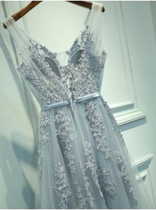 A-Line V-Neck Backless Light Blue Tulle Appliques Prom Dress with Sash