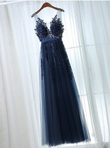 A-Line Scoop Floor-Length Navy Blue Tulle Prom Dress with Sash Appliques