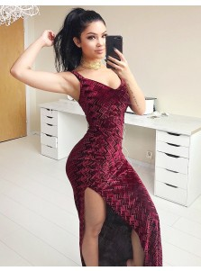 Sheath V-Neck Floor-Length Burgundy Velvet Prom Dress with Split-Side