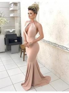 Mermaid Jewel Sweep Train Backless Blush Prom Dress with Keyhole