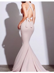 Mermaid V-Neck Criss-Cross Straps Court Train Blush Prom Dress