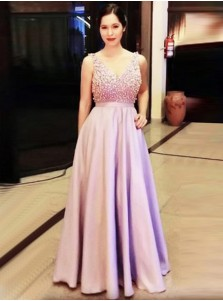 A-Line V-Neck Floor-Length Sleeveless Pink Stretch Satin Prom Dress with Beading
