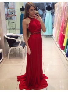 A-Line Halter Floor-Length Pleated Red Prom Dress with Beading