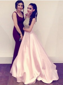 A-Line Halter Pink Satin Prom Dress with Beading Pockets