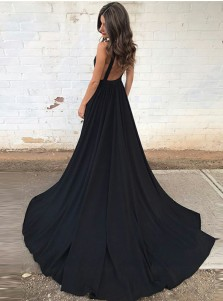 A-Line Deep V-Neck Backless Court Train Black Prom Dress with Pockets