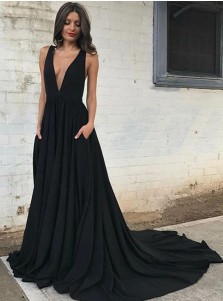 A-Line Deep V-Neck Backless Court Train Black Prom Dress with Pockets