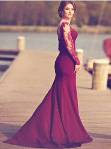 fdcfe5a2bc35 ... Mermaid Square Sweep Train Long Sleeves Burgundy Prom Dress with  Appliques